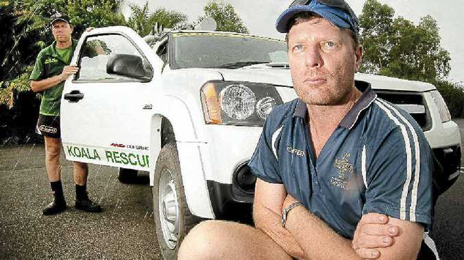 Ray (front) and Murray Chambers are angry after their koala rescue vehicle was broken into and valuable items stolen.