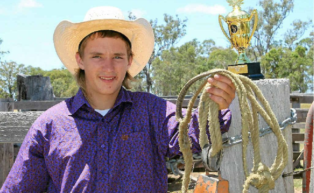 Callum Miller after his victory in two events at the Yangan Bull Ride on New Year's Eve.