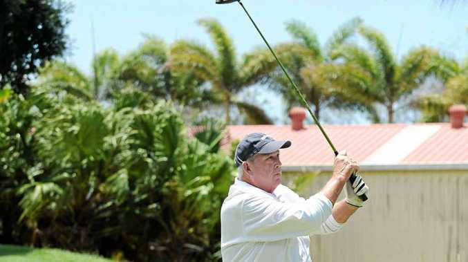 Channel Seven sales manager Paul Elliott tees off on the first at Channel 7 Challenge at the Coral Cove Golf Club.