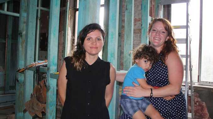 HYBRID ARTS: Set to create a true arts hub in Toowoomba's CBD are Kirsty Lee (left) and Alison Mooney with Heath Basinauro.