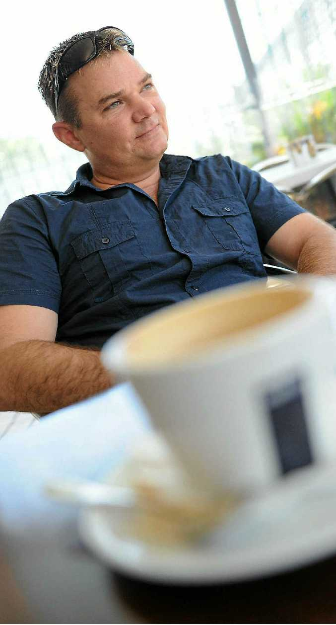 Nigel Sheppard enjoying a cup of coffee at Rocksalt.