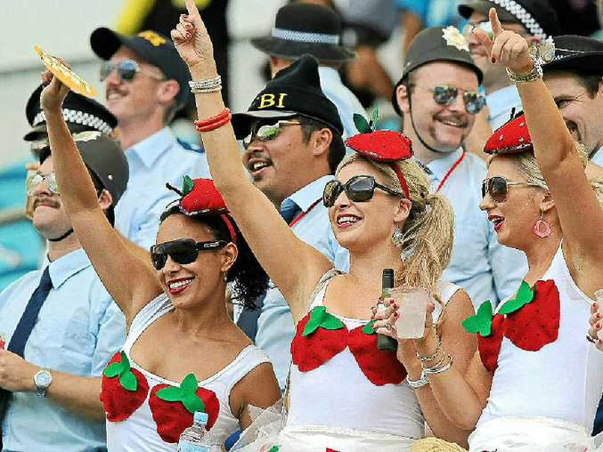 FANCY DRESS GAME: Fans dress up and enjoy themselves as they watch the Rugby Sevens World Series matches on the Gold Coast on November 25.