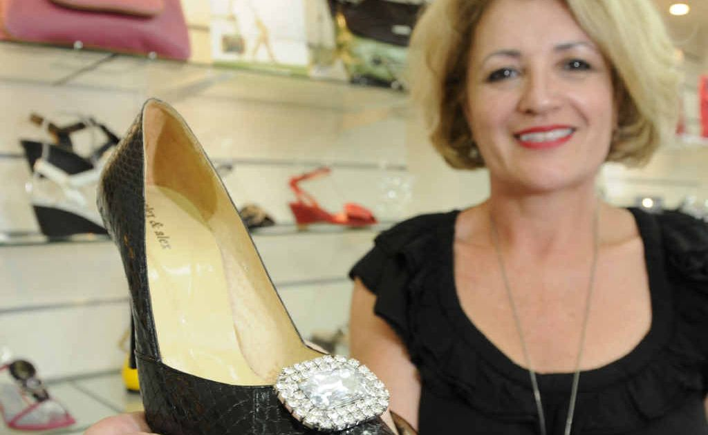 Donna McCartney shows off a novel way of dressing up a simple pair of heels — shoe bling.