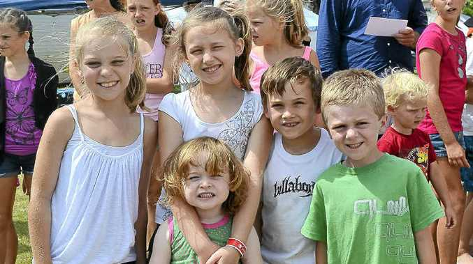 KEEN KIDS: Enjoying the SUFM holiday fun are from left Chloe Milgate, 9, Sarah Swan, 9, Caleb Swan, 7, Brayden Milgate, 5 and in front Amelia Swan, 3 all of Lismore.