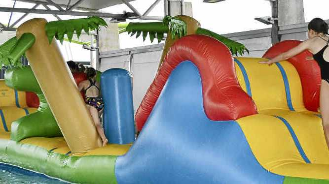 POPULAR: The inflatable obstacle course at the Evans Head Aquatic Centre.