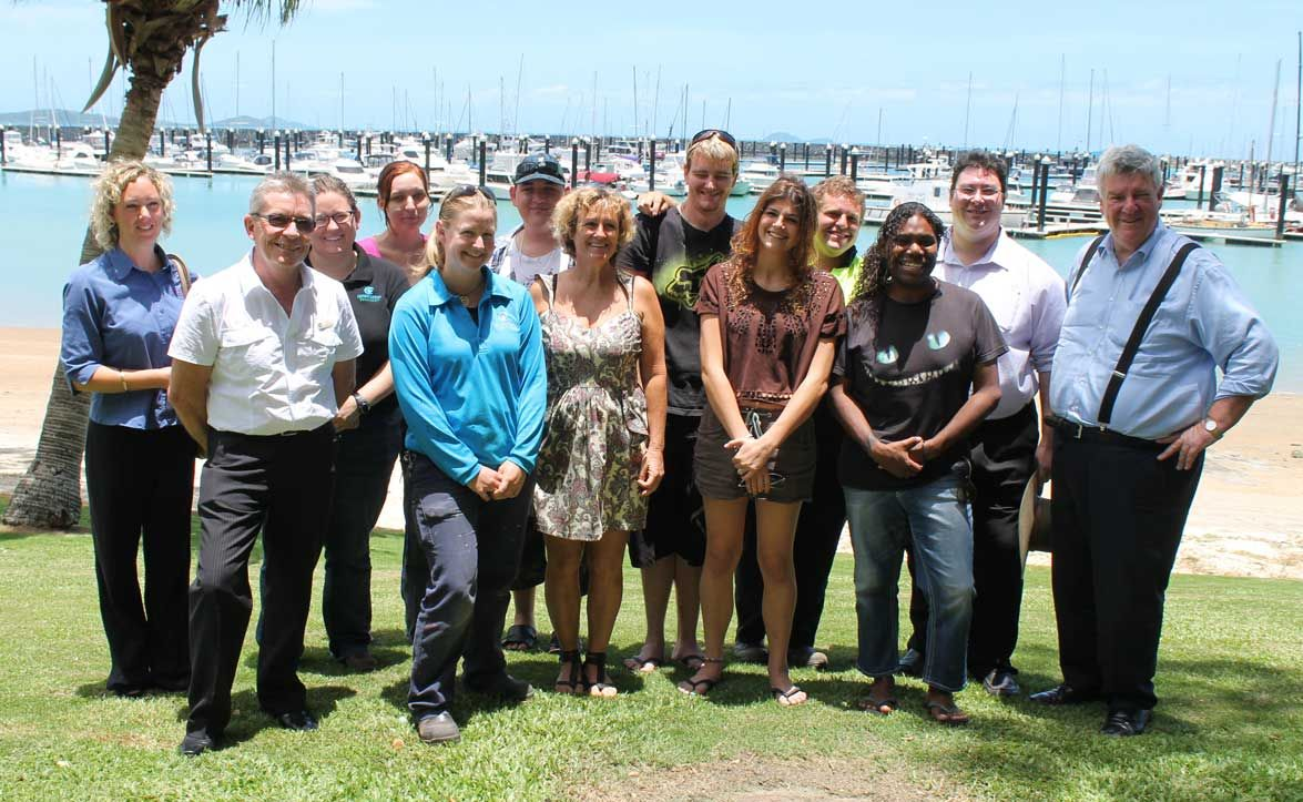 GREAT EFFORT: Michelle Fisher, Peter Lindsay, Caitlin Davies, Roxanne Landel, Sarah Reek, DJ Smith, Trinity Farrell, Karlie Brazel, Des Allan, Brian Kissier, Federal Member for Dawson George Christensen and Queensland senator Ron Boswell attended the graduation of six Whitsunday youth who received their Certificate 2 in Conservation and Land Management at Shingley Beach two weeks ago. Photo Aimee Vinci / Whitsunday Times