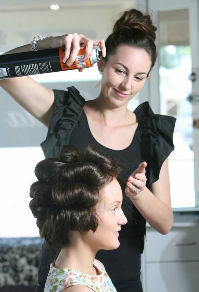 Jessica Plant from Bella Boutique on Glebe gives Bryden North the Body Blowdry.