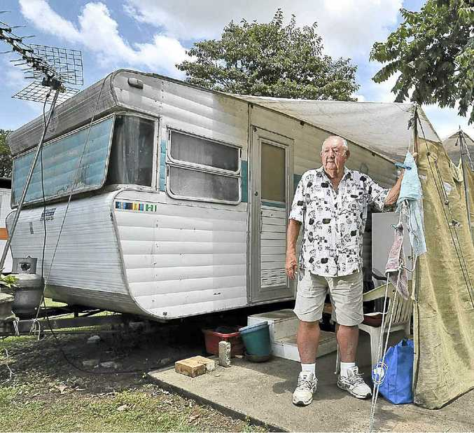 Doug Kelly, 77, has lived at Lismore Caravan Park for 25 years and is one of the last occupants. He is hoping he will be allowed to stay because he owns the caravan he lives in.