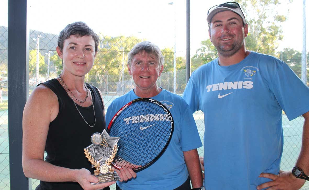 TRUE IMPROVER: Sandy McBean was awarded JJK Tennis Coaching's most improved award for 2011 by coaches Jenny and Jamie Kirkman and is a great example of what others can do on the court, if they put their mind to it. Photo Zac Bailey / Whitsunday Times