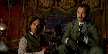 Robert Downey Jr (left) and Jude Law, are shown in a scene from Sherlock Holmes: A Game of Shadows.