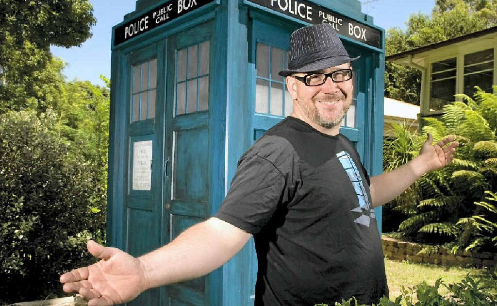Geoff Campbell with his home-made replica TARDIS, the time travelling device made famous by cult television show, Dr Who.