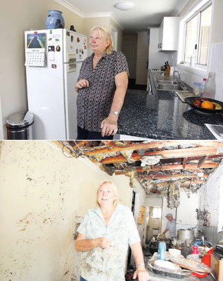 Top: Karalee resident Esme Sharpe sees a little bit or normality back in her life one year after the January 2011 flood. Below: Esme cleaning up after the flood.