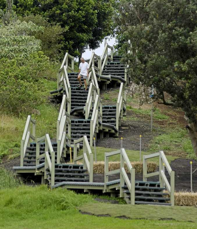 The Pat Morton lookout stairs at Lennox Head have been completed with native vegetation planted to blend in with the environment.