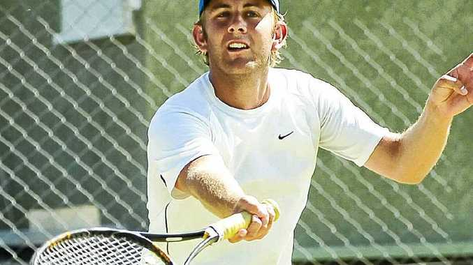 Brendan Lee, of Goonellabah, playing in the Ballina New Year Open tennis tournament yesterday.