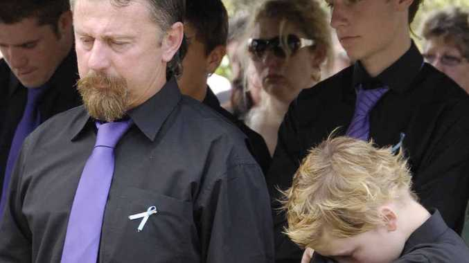 John Tyson (left) and Blake Rice at the funeral of Donna and Jordan Rice in January, 2011.