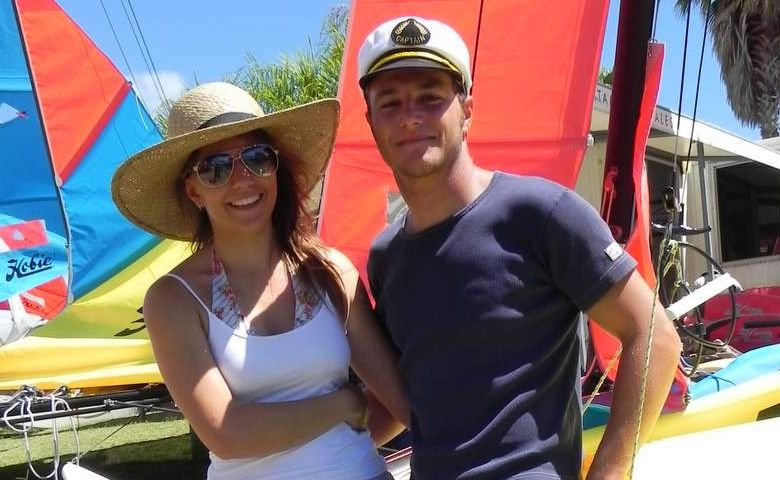 Hobie cat sailors Lisa Darmanin and Ben Roulant, both 20, of Sydney at the nationals in Mooloolaba this week.