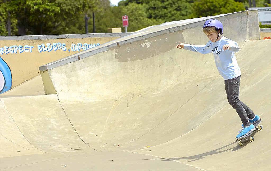 Tom Evans of Goonellabah shows his style at Goonellabah skate park.