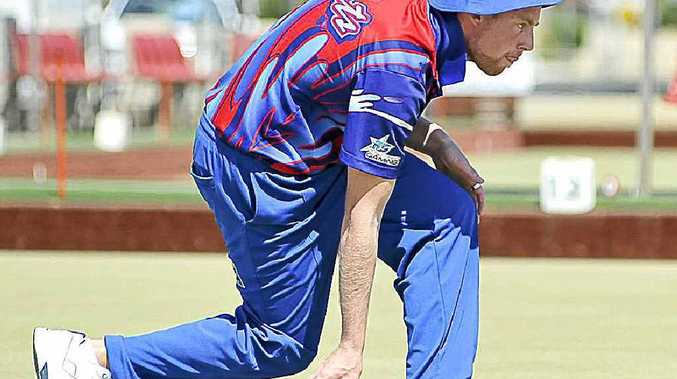 Mathew Pieterson, of St Johns Park in Sydney, on the mat in the Summerland Singles final at the Ballina Bowling Club yesterday.