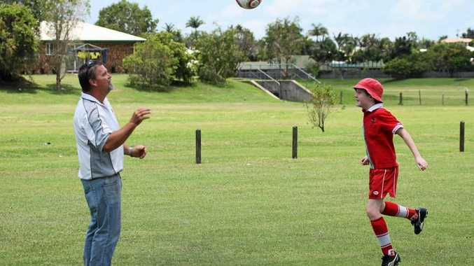 Football Mackay president Scott Mealy takes Jack Kliese through his paces in the lead-up to the North Queensland Games, to be held in Mackay in June this year. The club is already busy preparing for the games.