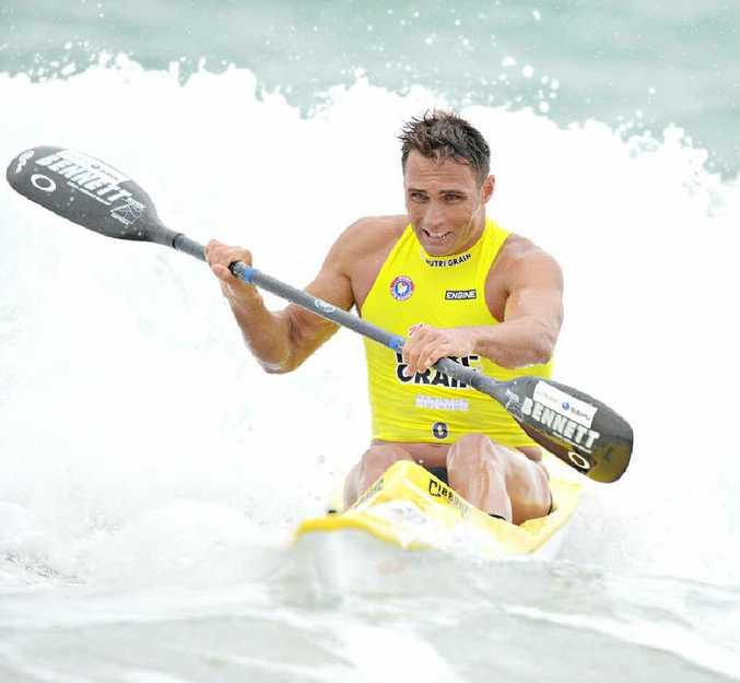 Nutri-Grain Ironman Series round winner Ky Hurst in the surf at Portsea, Victoria yesterday.