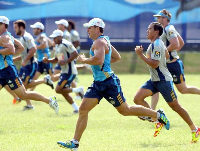 The Gold Coast Titans in training.