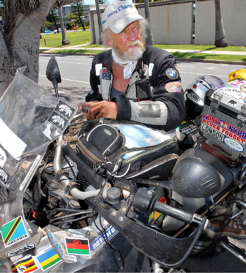 Mackay adventurer Peter Maddox has stopped in Mackay with his motorcycle after travelling through 53 countries over the past three years.