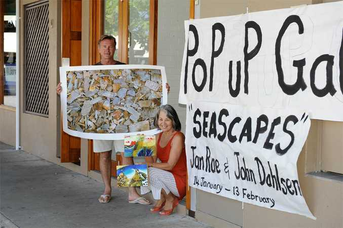 Byron Bay artists John Dahlsen and Jan Rae will exhibit their work at this pop-up gallery in Fletcher St, Byron Bay.
