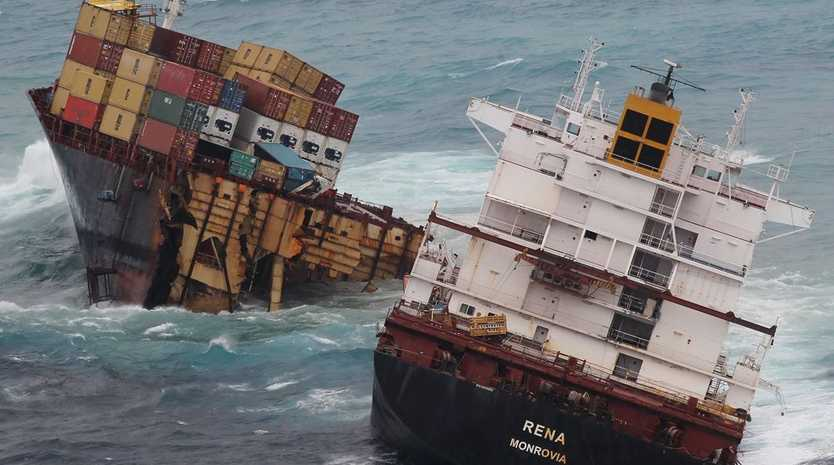 The container ship Rena sits in two pieces on Astrolabe Reef off the coast of Tauranga.