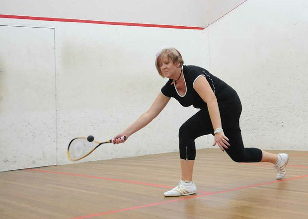 Gympie Squash Court owner Susan Kerr in action at her Cartwright Rd courts.