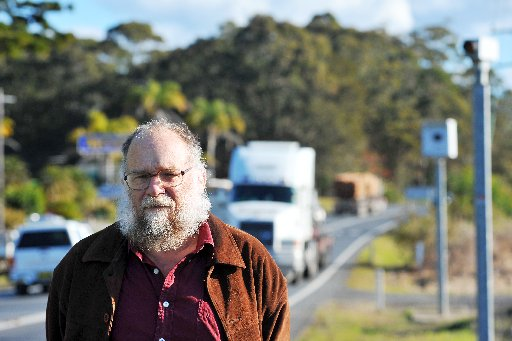 Urunga Road safety campaigner John May has lobbied the state government since the town's speed camera was switched off. BRUCE THOMAS.