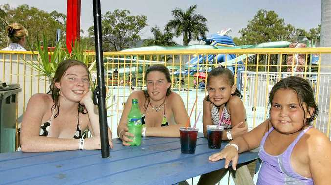 Madison Nelson and Brooke Nelson cooled down with cousins Shae Nelson and Kaidence Nelson at the Rock Pool Water Park.