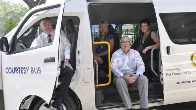 Wayne Harth, Jasmine Gallagher, Richard Bowly and Katrina McDougall try out the new courtesy bus.