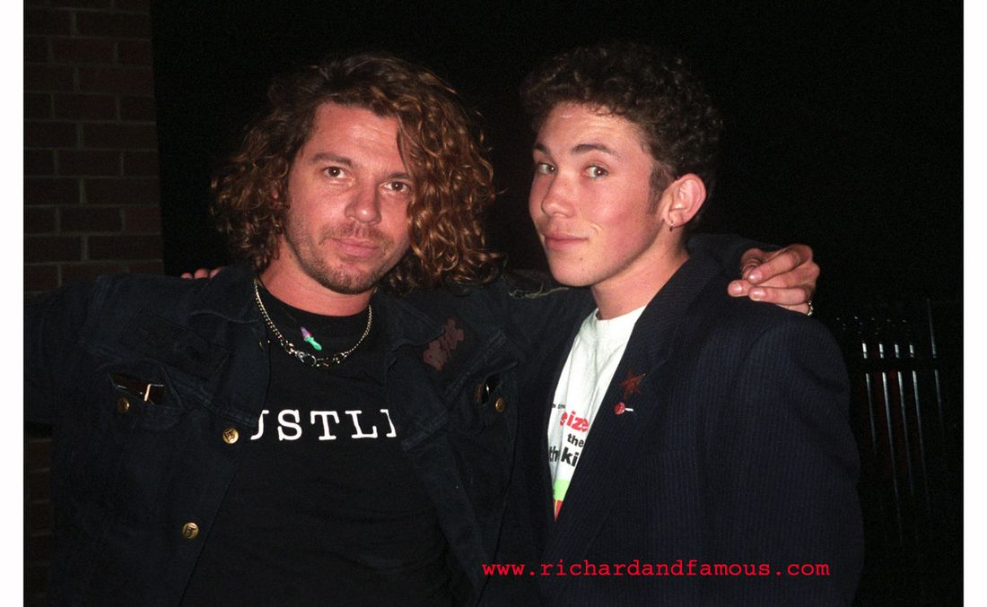 Richard Simpkin with Michael Hutchence in 1993.