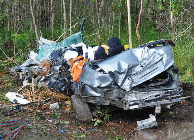 The wreckage of the car being driven by Grant David Wright after it crashed near Tabbimoble.
