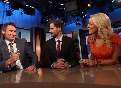 Dave Hughes, Charlie Pickering and Carrie Bickmore on the set of The Project.
