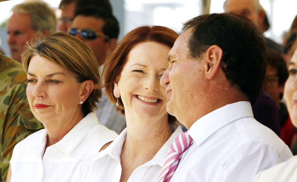 In Australia we can celebrate as women rise to positions of importance, such as Queensland Premier Anna Bligh (left) and Prime Minister Julia Gillard (centre).