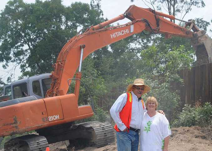 Ken and Pattie Hudson are investing in Gympie's future with their $6 million Southside Family Village, where work was well under way yesterday.