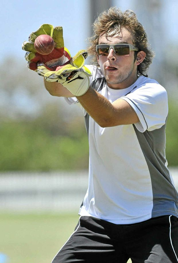 Canterbury Colts wicketkeeper James Watson warms up before the match against Ballina yesterday.