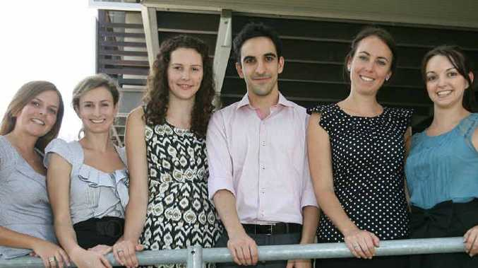 Third year University of Queensland medical students Lisa Major, Sarah Cranney, Ashleigh Cruickshank, Jason Vellios, Kate Anderson and Kaitlyn Mullane arrive in Rockhampton yesterday for a year of rural experience.