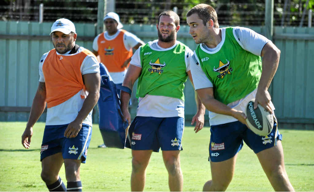 Rockhampton's Sam Hoare makes his return from a serious knee injury, hitting the training field with the North Queensland Cowboys in Townsville last week.