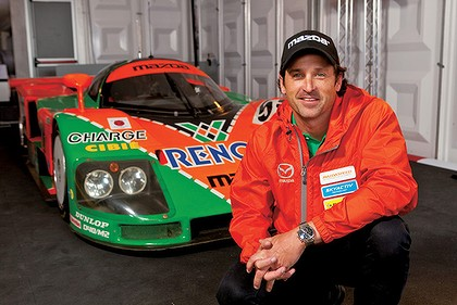 Patrick Dempsey with the 1991 Le Mans winning Mazda.