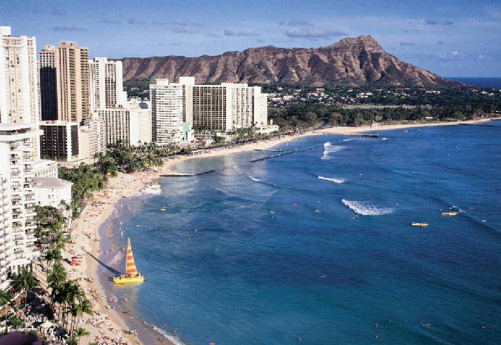 Waikiki Beach at Hawaii.