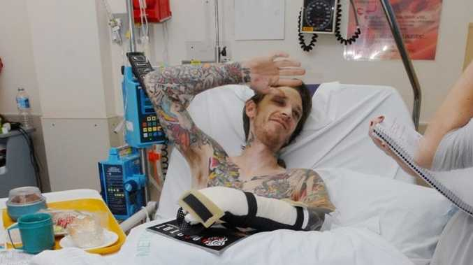 Tattoo artist Adam Barton, badly injured in a hit-and-run on Milton St, expects to be unable to work for several weeks while he recovers.