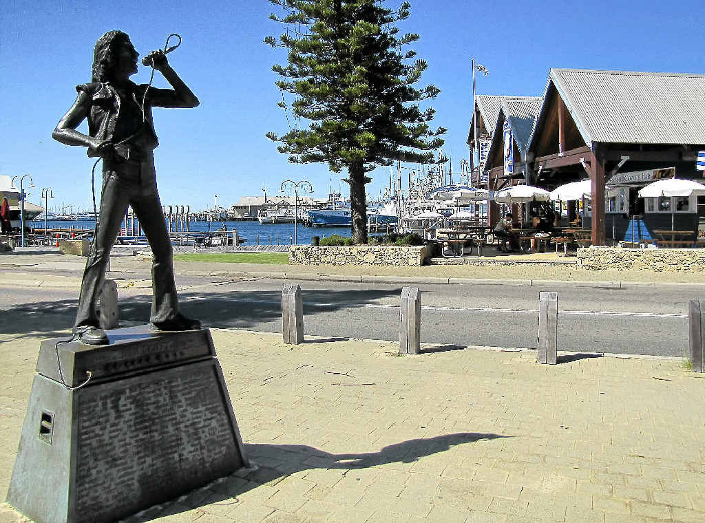 A FAVOURITE SON: The statue of Bon Scott by the water in Fremantle.