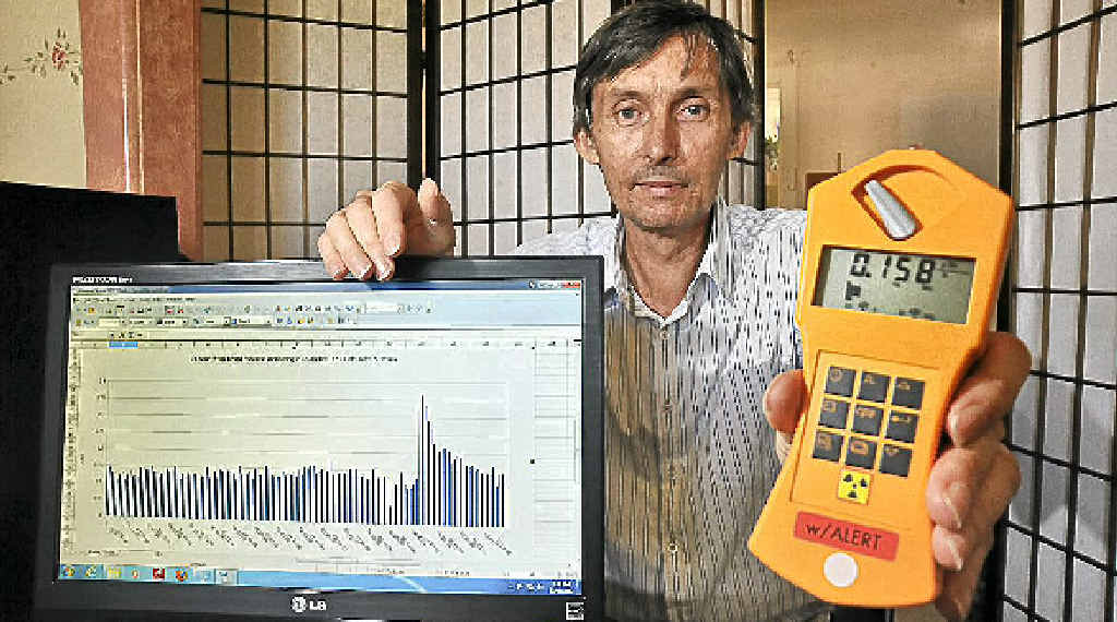 Caloundra's Peter Daley recently recorded a radiation level eight times the normal level.