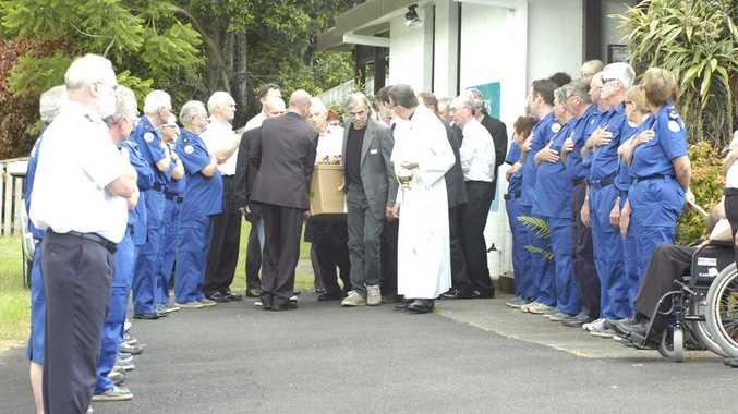In Mullumbimby, St John's Catholic Church, funeral of John Foss AKA Giacomo Fosscati (1951-2012).
