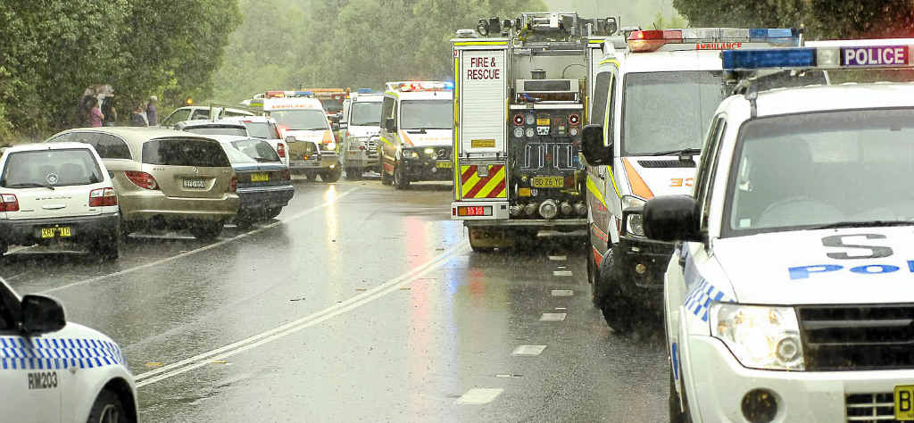 The scene at the accident on Bangalow Rd, after Clunes, between Nashua and Binna Burra.