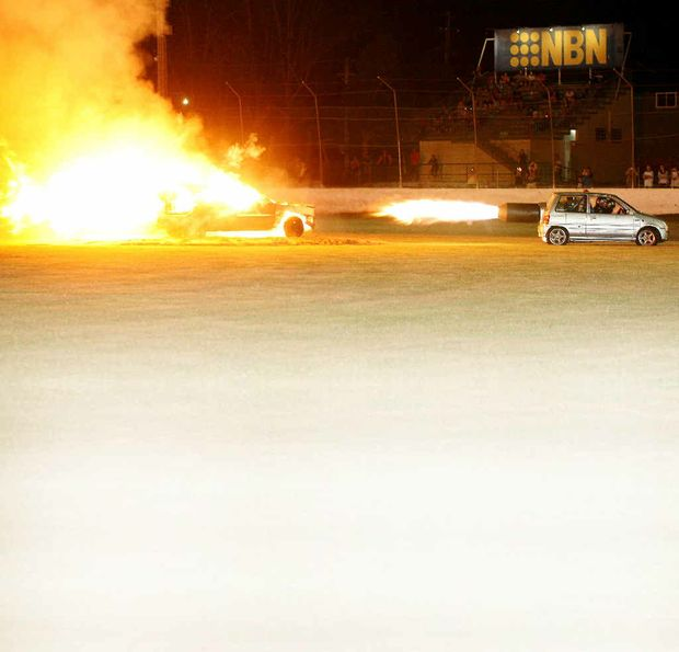 The jet car lit up Lucas Oil Lismore Speedway with its after-burners igniting an unwanted vehicle between races.
