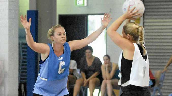 Emer Dowling defends during team selection trials for the Whitsunday Sharks.