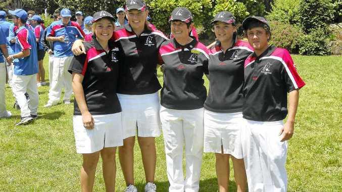 Bundaberg members of the Bowls Queensland team which toured New Zealand – Bolivia Millerick, Rikki-Lee Kemp, Betty Andrewartha (manager), Cassandra Millerick and Kyle Franks.